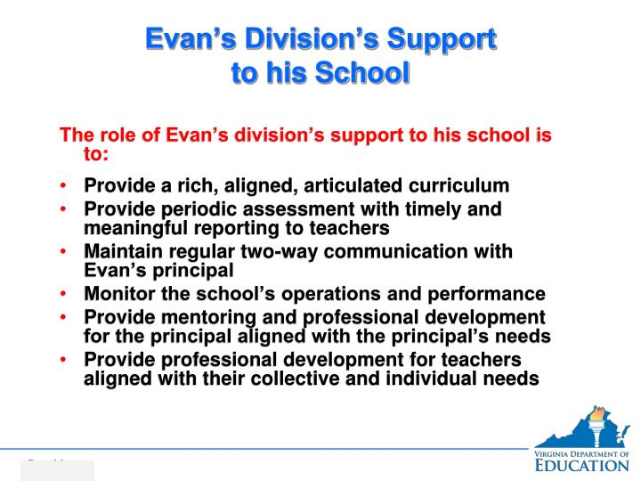 Evan's Division's Support