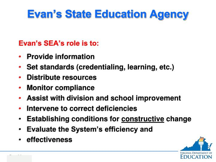 Evan's State Education Agency