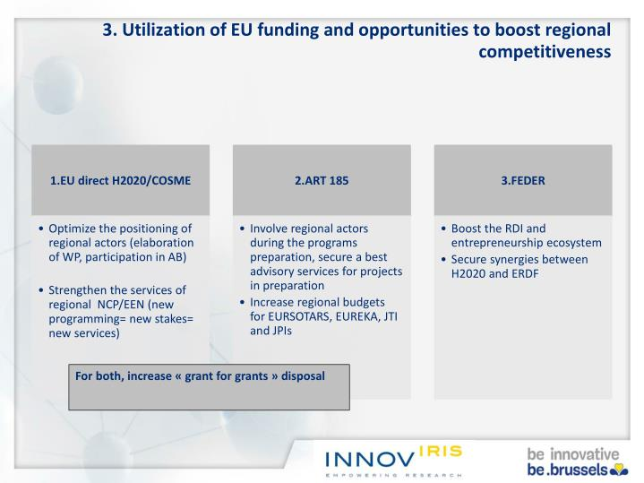 3. Utilization of EU funding and opportunities to boost regional competitiveness