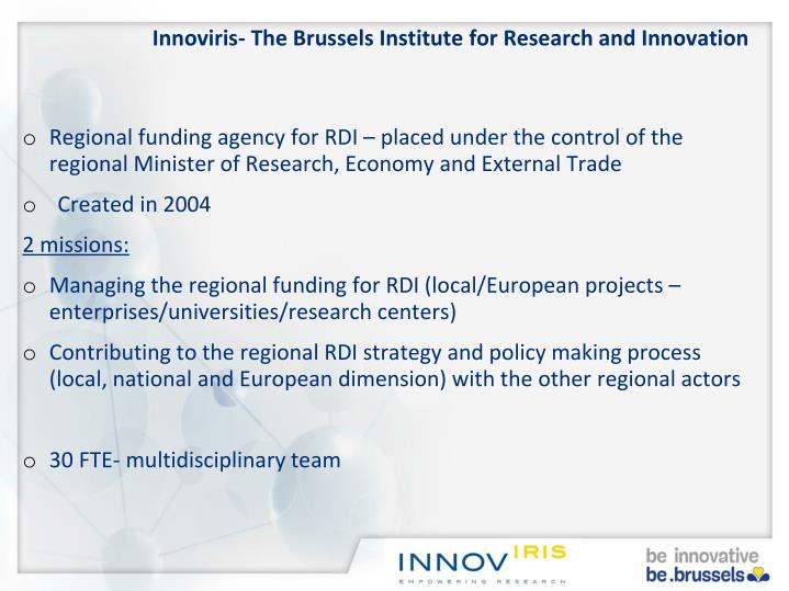 Innoviris the brussels institute for research and innovation