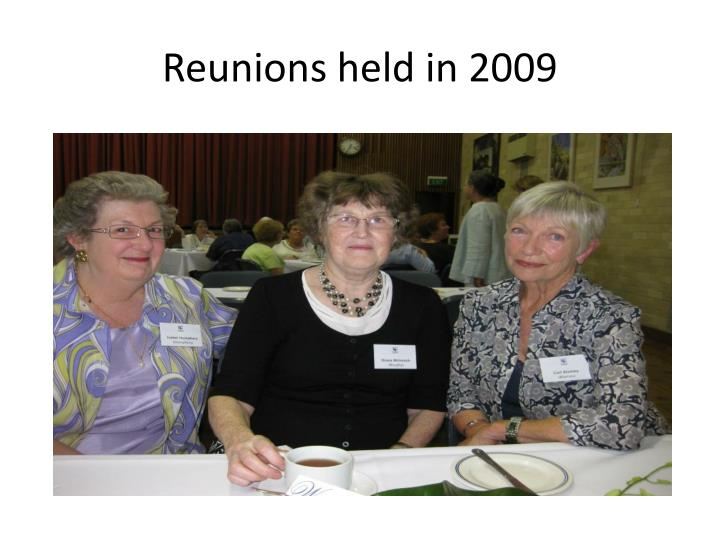 Reunions held in 2009