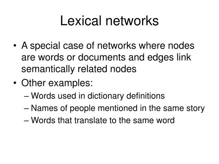 Lexical networks
