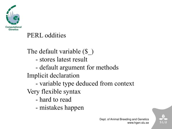 PERL oddities