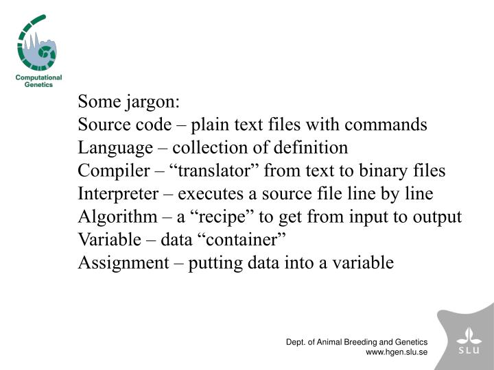 Some jargon: