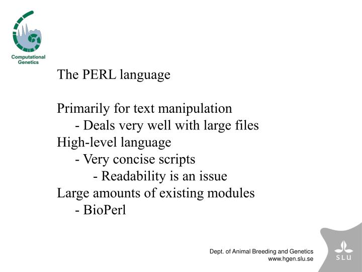 The PERL language