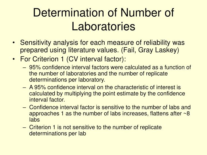 Determination of Number of Laboratories