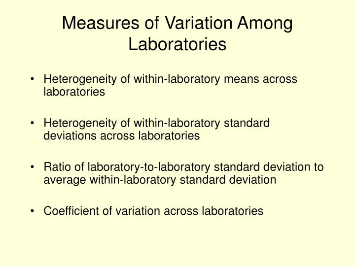 Measures of Variation Among Laboratories
