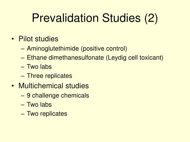 Prevalidation Studies (2)
