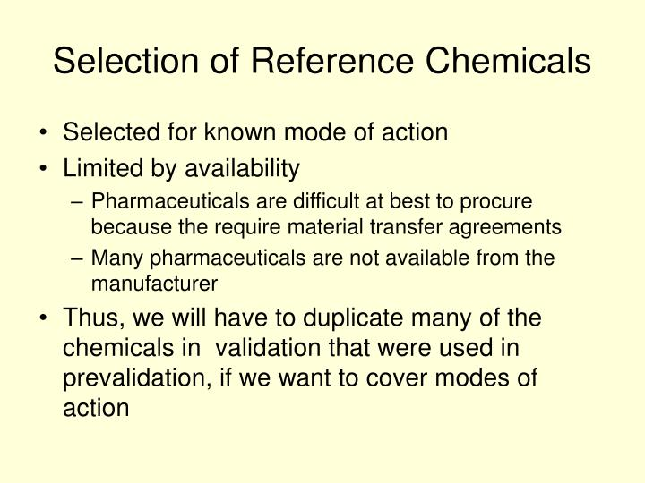 Selection of Reference Chemicals