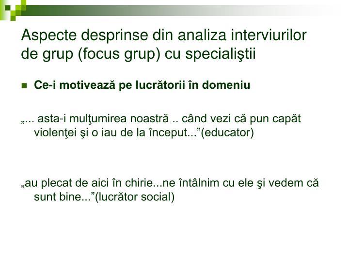 Aspecte desprinse din analiza interviurilor de grup (focus grup) cu specialiştii