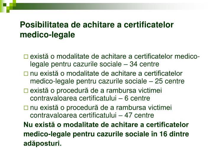 Posibilitatea de achitare a certificatelor