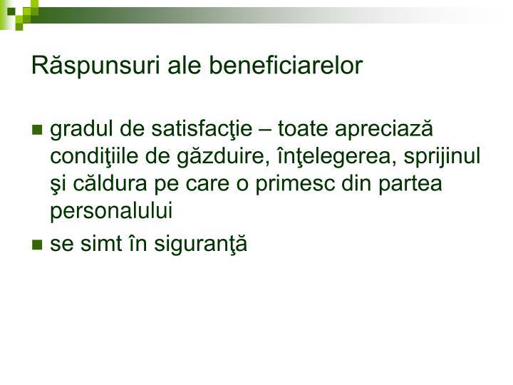 Răspunsuri ale beneficiarelor