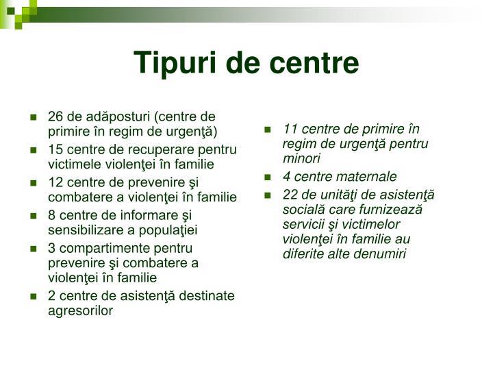 26 de adăposturi (centre de primire în regim de urgenţă)