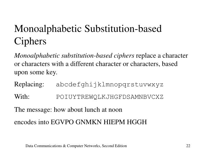 Monoalphabetic Substitution-based Ciphers