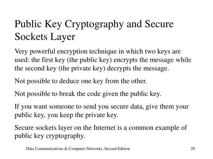 Public Key Cryptography and Secure Sockets Layer