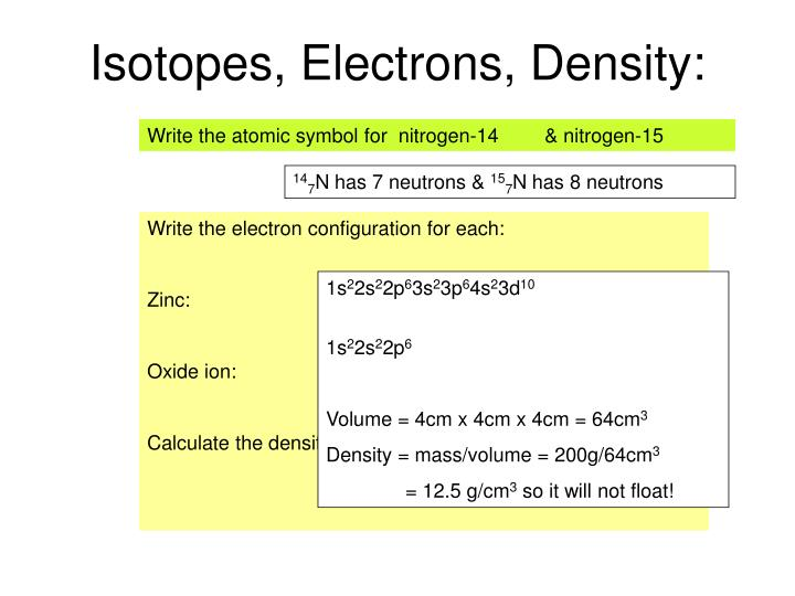Isotopes, Electrons, Density: