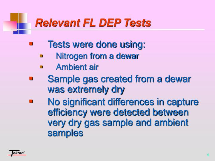 Relevant FL DEP Tests