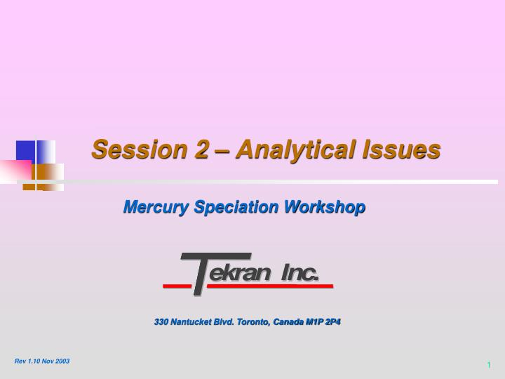 Session 2 analytical issues
