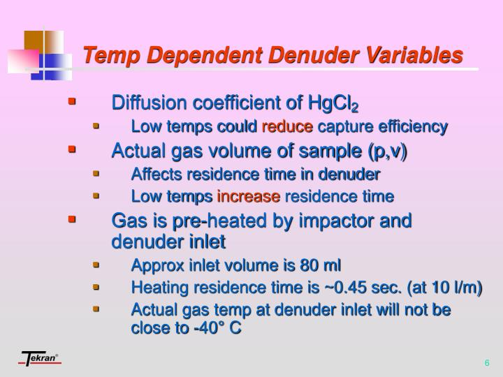 Temp Dependent Denuder Variables