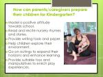 how can parents caregivers prepare their children for kindergarten