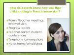 how do parents know how well their child is doing in french immersion
