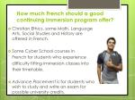 how much french should a good continuing immersion program offer