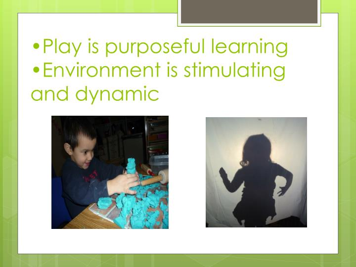 •Play is purposeful learning