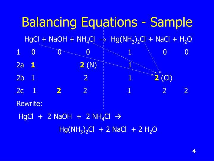Balancing Equations - Sample