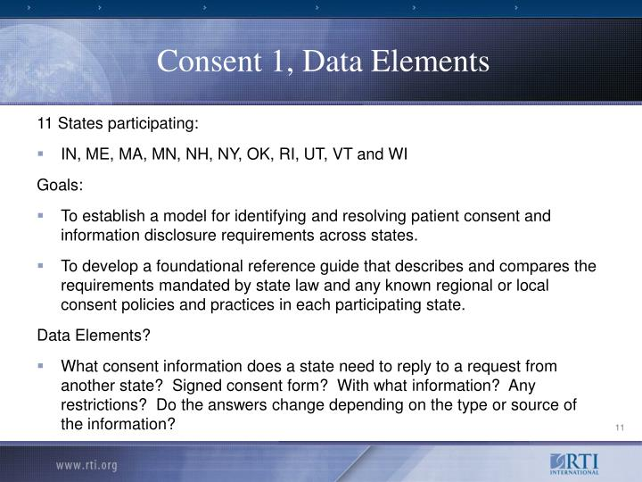 Consent 1, Data Elements