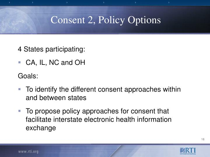 Consent 2, Policy Options