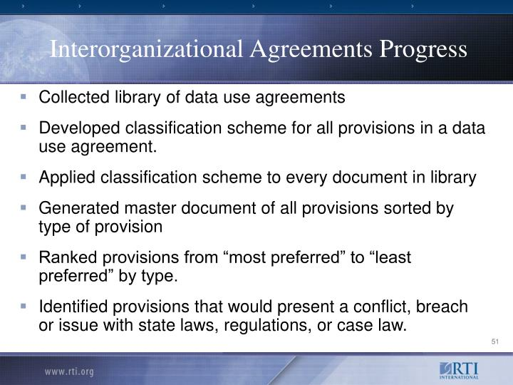 Interorganizational Agreements Progress