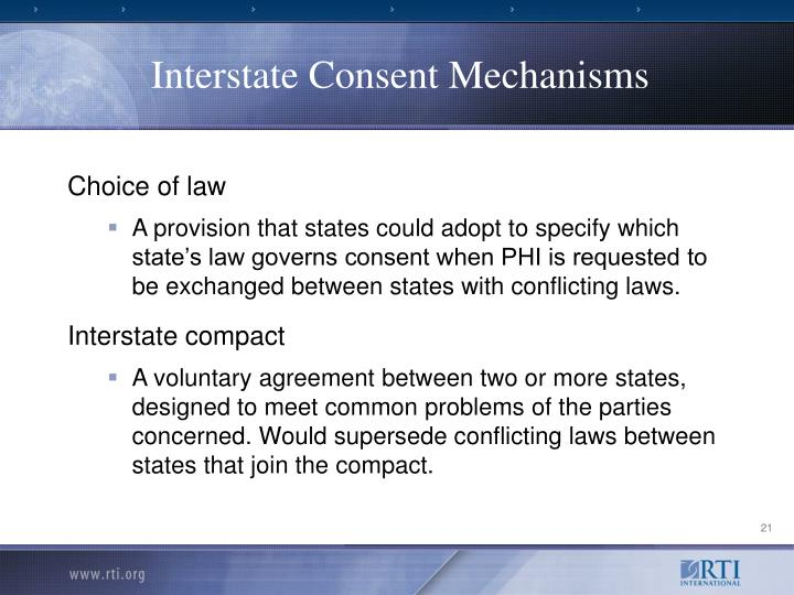 Interstate Consent Mechanisms