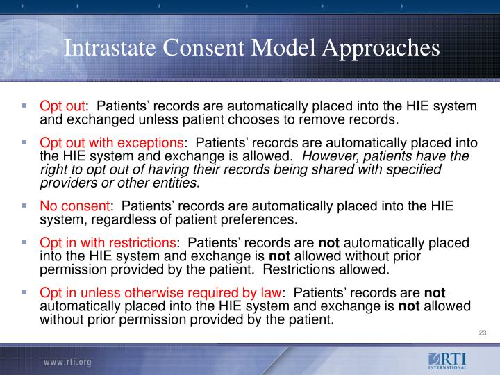 Intrastate Consent Model Approaches
