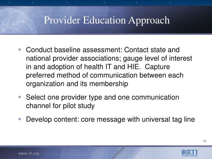 Provider Education Approach