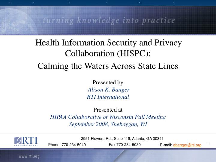 Health Information Security and Privacy Collaboration (HISPC):