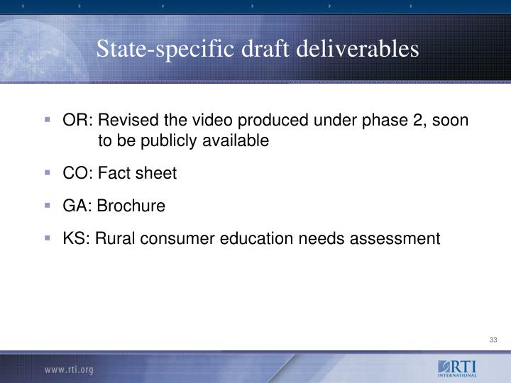 State-specific draft deliverables
