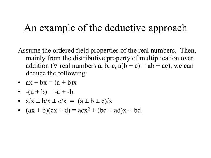An example of the deductive approach