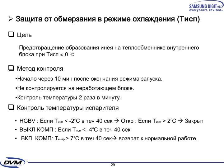 Защита от обмерзания в режиме охлаждения