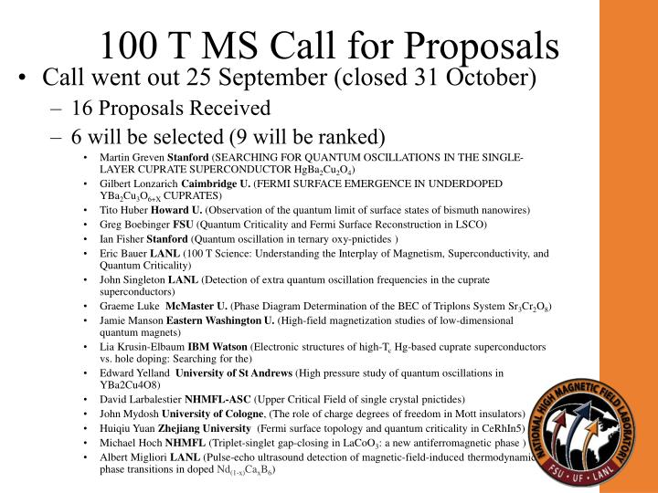 100 T MS Call for Proposals