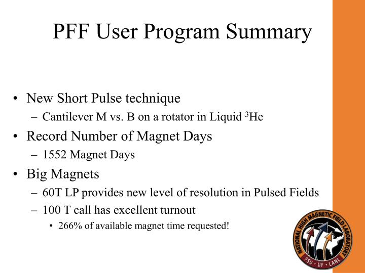 PFF User Program Summary