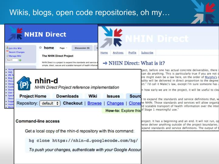 Wikis, blogs, open code repositories, oh my…