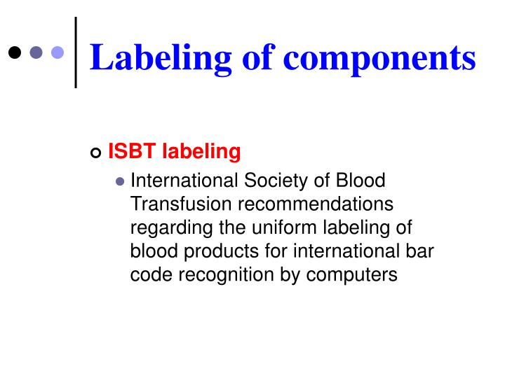 Labeling of components