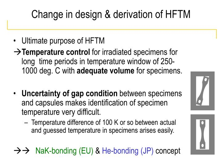 Change in design & derivation of HFTM