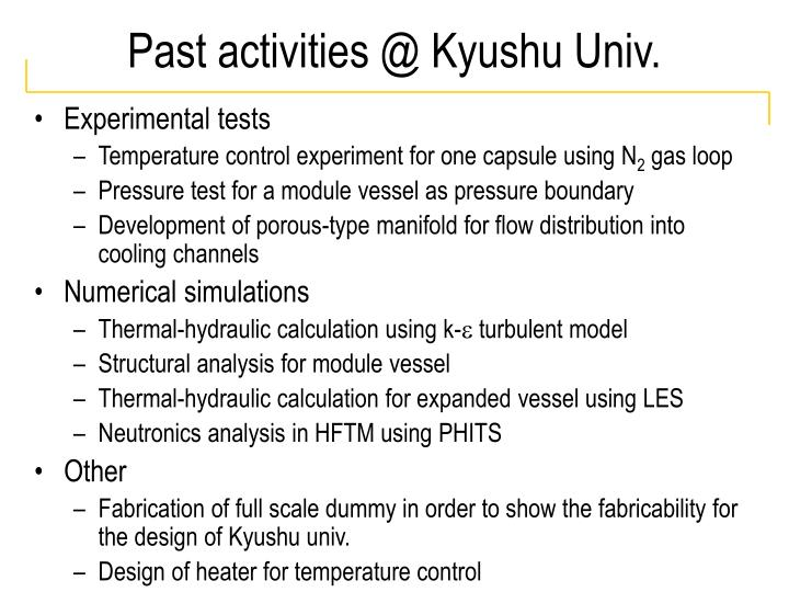 Past activities @ Kyushu Univ.