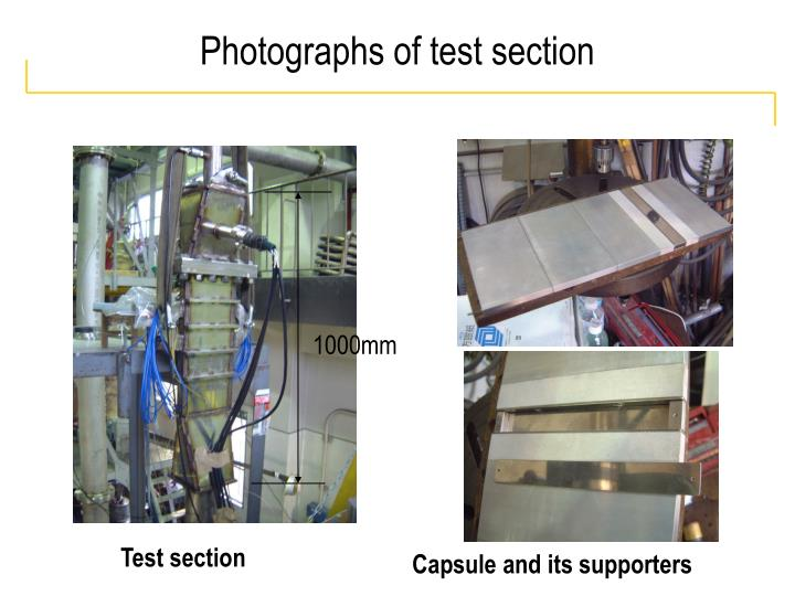 Photographs of test section