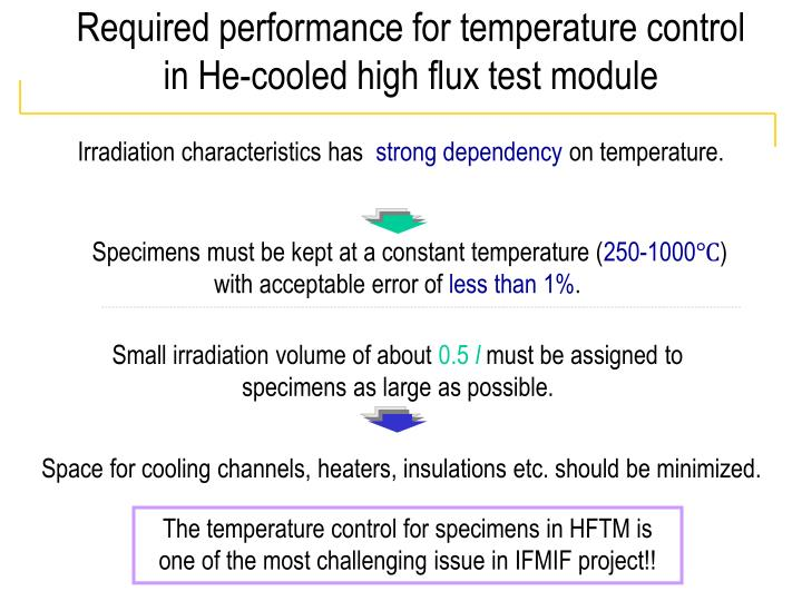 Required performance for temperature control in He-cooled high flux test module