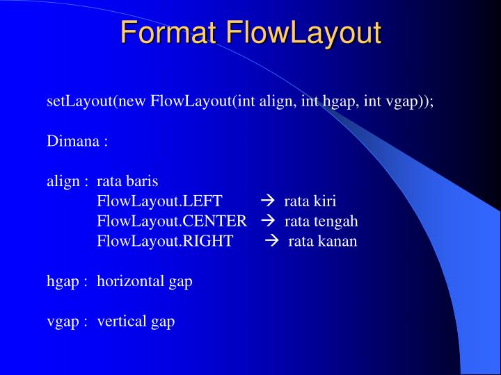 Format FlowLayout