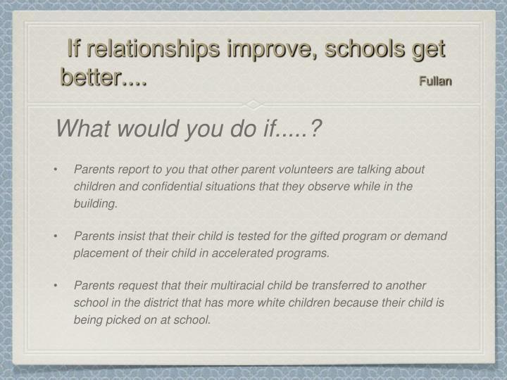 If relationships improve, schools get better....