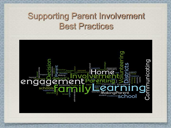 Supporting Parent Involvement    Best Practices