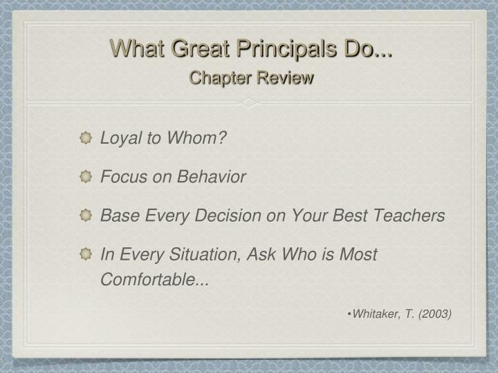 What great principals do chapter review